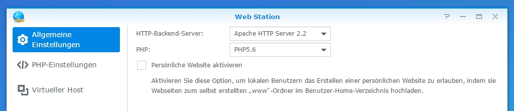 Einstellungen Synology DSM Webstation